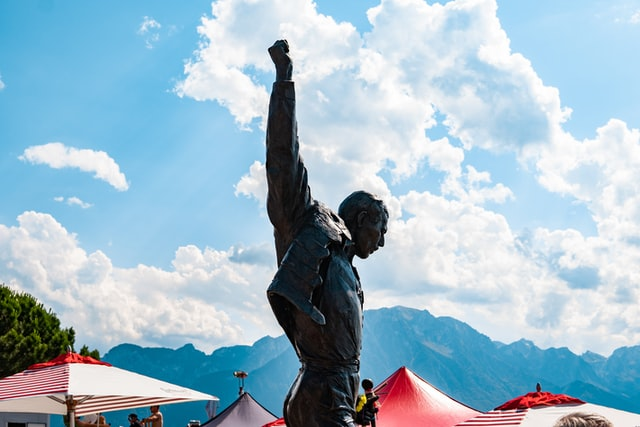 Statue of refugee, Freddie Mercury in Switzerland